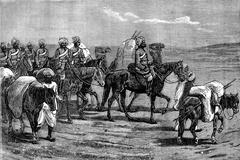 Afghanistan. Riders of the Indian contingent, vintage engraving. Stock Illustration