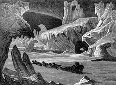 In ice, arctic landscape. vintage engraving. Stock Illustration