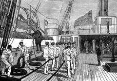 Life on board. The bridge of a ship of war, vintage engraving. Stock Illustration