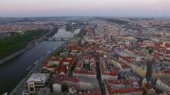 Aerial shot of Prague and Vltava river, Czech Republic Stock Footage