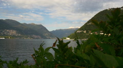 Summer day light famous como lake bay greens walking panorama 4k italy Stock Footage