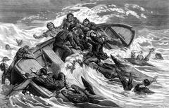 A crew devours by sharks, vintage engraving. Stock Illustration