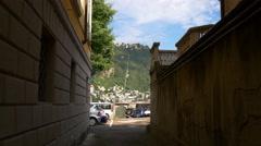 Summer day como lake bay street walking panorama 4k italy Stock Footage