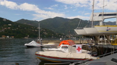 Summer day famous como lake dock boat station bay panorama 4k italy Stock Footage
