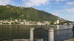 Como lake famous summer day bay mountain city panorama 4k italy Stock Footage
