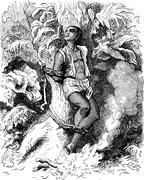 Dramas of India. The trunk of a palm tree, a human creature was attached, vin Stock Illustration
