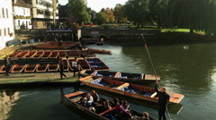 Punting on the River Cam at Cambridge. Stock Footage