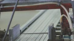 Cutting steel seals for PVC windows. Steel seals Stock Footage