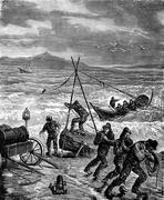 A rescue. The rope is stretched over an anchor, vintage engraving. Piirros