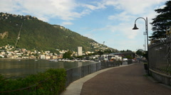 Summer day como lake city bay dock walking panorama 4k italy Stock Footage