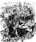 Luncheon on the drags, vintage engraving. Stock Illustration