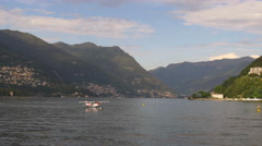 Summer day famous como lake float plane ride bay panorama 4k italy Stock Footage