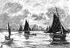 The night in the harbor, after the table of Mr. Bellet Posat, vintage engrave Stock Illustration