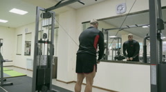 Closeup of a bodybuilder working out Stock Footage