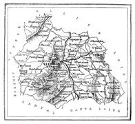 Map of the department of Puy-de-Dôme, vintage engraving. Stock Illustration