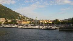 Summer sunny day famous como city lake bay port panorama 4k italy Stock Footage