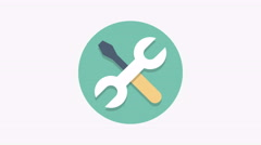 8K - SPanner and screwdriver icon symbol round logo Stock Footage