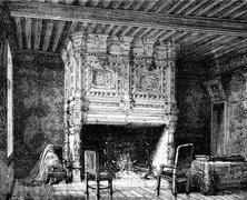 Arnay-le-Duc. Fireplace in one of the castle, vintage engraving. Stock Illustration