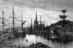 Docks and the church of St. Mary Redcliffe, vintage engraving. Stock Illustration