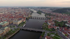Vltava river in Prague, aerial view Stock Footage