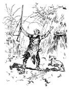 Narcissus nicaise perilous adventures in the Congo. Nicaise out of the hut ch Stock Illustration