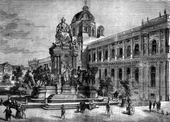 Vienna, Austria. The statue of Maria Theresa, vintage engraving. Stock Illustration