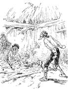 Narcissus Nicaise perilous adventures in the Congo. One screams and rushed an Stock Illustration