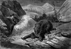 Death of Bear. His comrade visa animal to default shoulder, vintage engraving Stock Illustration