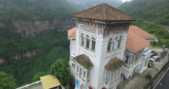 Coming up and over the museum to reveal Tequendama Falls in Colombia Stock Footage