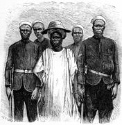 Hausa incurred by the international association, vintage engraving. Stock Illustration
