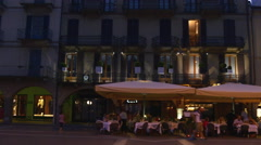 Summer twilight duomo square cafe and restaurant terrace panorama 4k italy Stock Footage