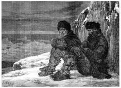 Arctic polar regions, Abandoned Cape York, vintage engraving. Stock Illustration