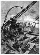 Sinking in the Southern Ocean, Alone on board, vintage engraving. Stock Illustration