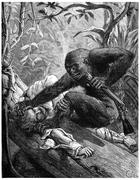 The eyes of the gorilla, bloodshot plunged into those of his Victims, vintage Piirros