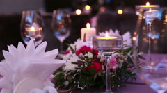 Luxury expensive table serving for romantic dinner with candles Stock Footage