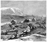 For the Danish colony Godhavn, vintage engraving. Stock Illustration