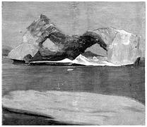 Ice-shaped arches in Smith Sound, vintage engraving. Stock Illustration