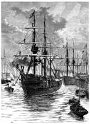 Art and Discovery leaving the harbor of Portsmouth, vintage engraving. Stock Illustration