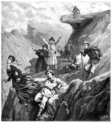 The disaster of Mount of the Cross, vintage engraving. Stock Illustration