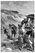 Abandoned in jewels, the Queen could continue his journey, vintage engraving. Stock Illustration