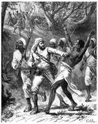 Paris of Lake Tanganyika, Courage make a gap! I exclaimed, vintage engraving. Stock Illustration