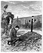 He cried the stranger as he was weeping over the grave of his father, vintage Stock Illustration