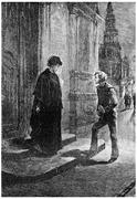 She was accosted by a young boy, vintage engraving. Stock Illustration