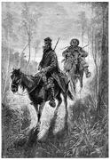 At dawn one and the other have left Farina Town, vintage engravi Stock Illustration