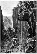 On the narrow gorges succeeded, cut by ravines, vintage engraving. Stock Illustration