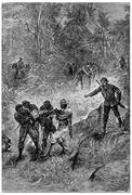 Black dragged towards the Fitzroy River, vintage engraving. Stock Illustration