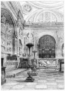 Tomb of Queen Anne Jagiellonian in the Cathedral of Krakow, vintage engraving Stock Illustration