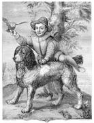 Frisius's son and the dog Goltzius, vintage engraving. Stock Illustration