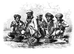 Snake charmers of India. - Drawing Sellier, vintage engraving. Stock Illustration