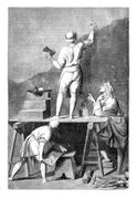 Preparation of the coating to paint a mural. - Drawing of L. -Chevignard, for Stock Illustration